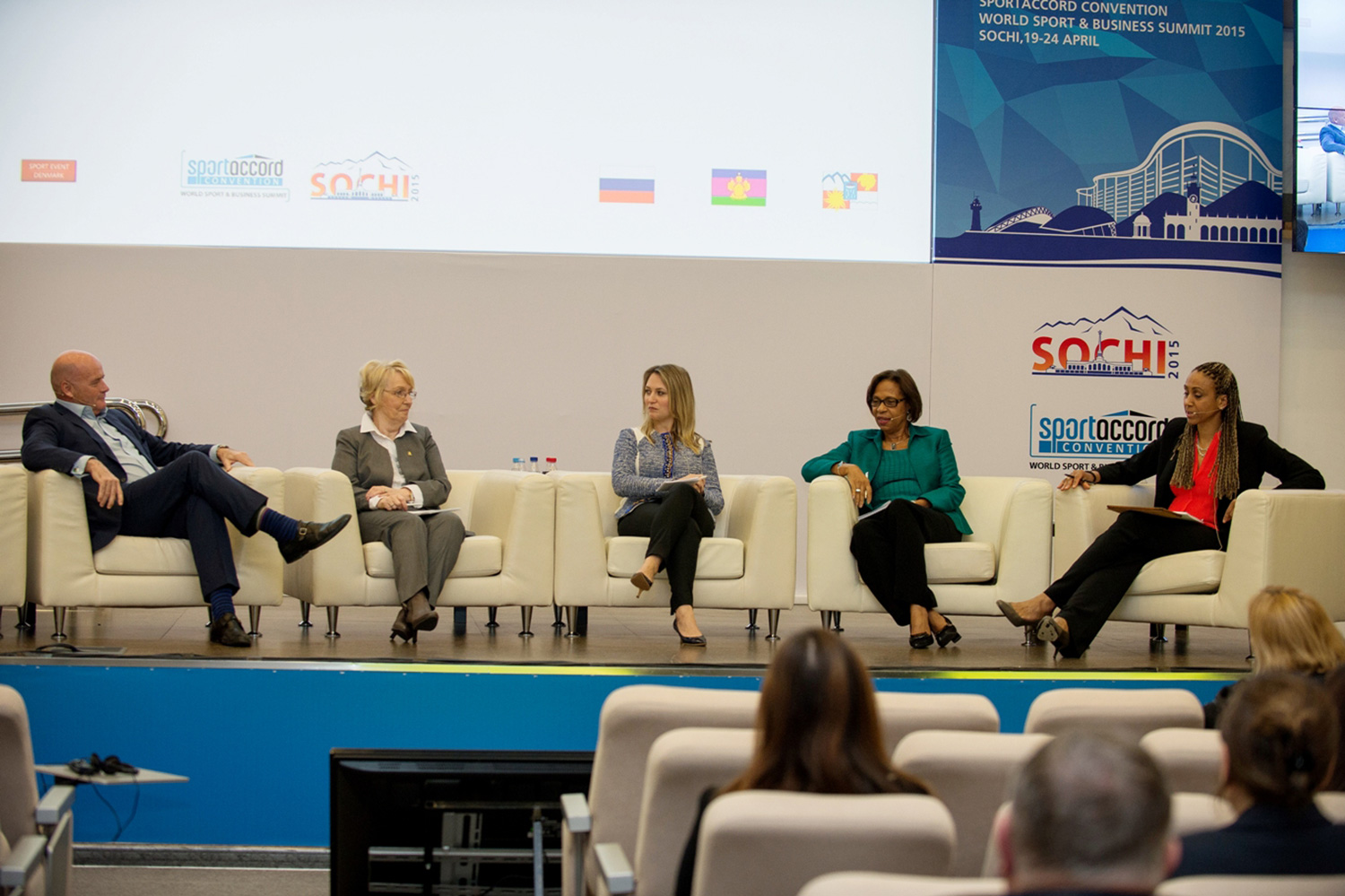 The SportAccord Convention women and sport discussion panel (l-r) Paul Smith, Kate Caithness, Sevi Hubert and Molly Rhone with moderator Charmaine Crooks  (SportAccord Convention)