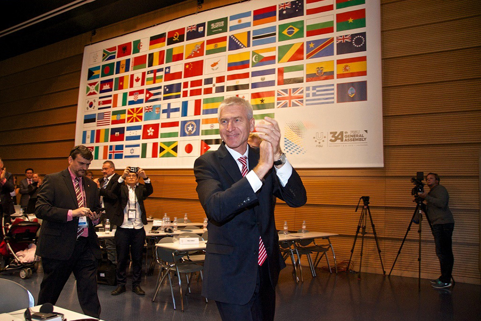 Oleg Matytsin celebrates being elected as FISU President in November 2015.