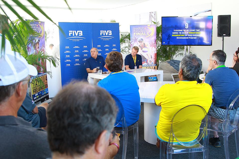 FIVB President Ary Graça launches FIVB's 9 goals at the Swatch Beach Volleyball FIVB World Tour Finals in Fort Lauderdale.
