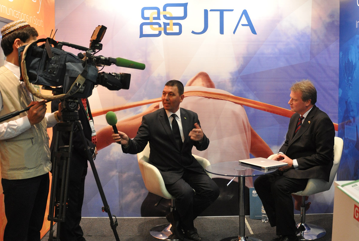 Jon Tibbs, JTA Chairman, being interviewed by local Turkmen media