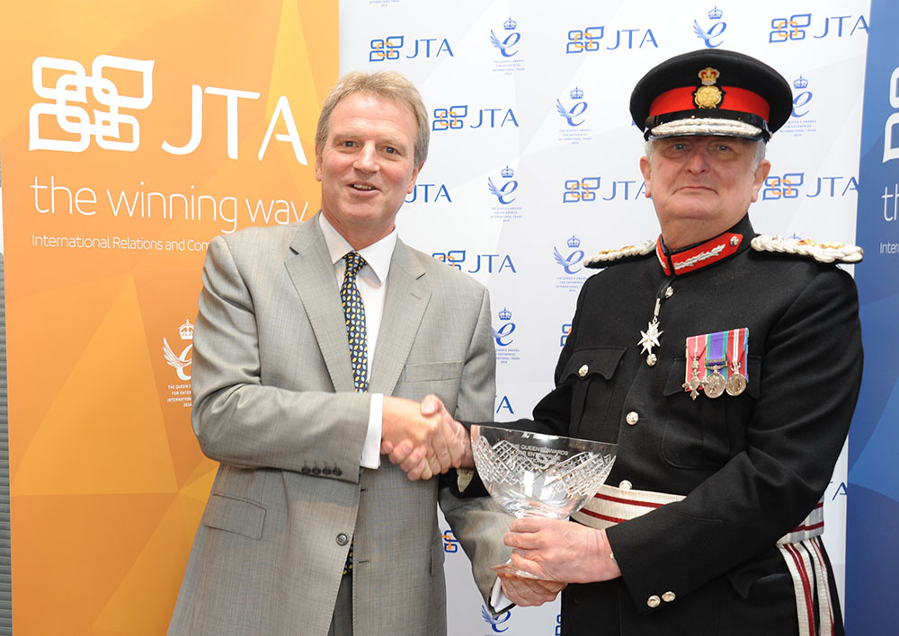 JTA Chairman Jon Tibbs accepts the Queen's Award for Enterprise in International Trade 2014 from the Lord Lieutenant of Kent