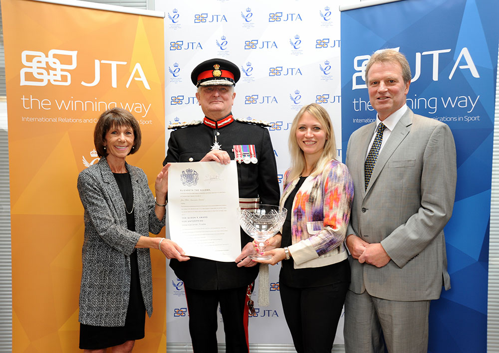The JTA Directors receive the Grant of Appointment and commemorative crystal bowl from the Lord Lieutenant of Kent