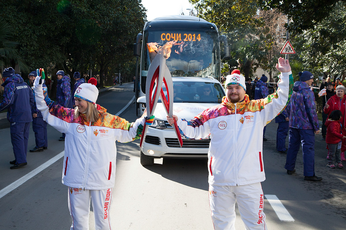 Sevi receives the Olympic flame