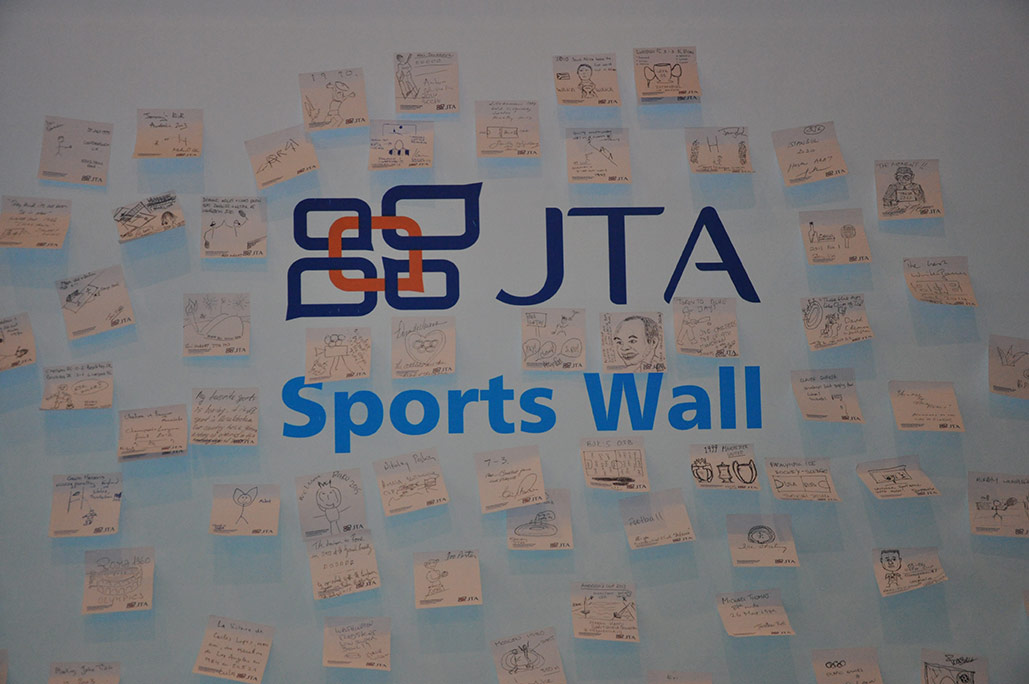 The JTA Sports Wall featuring delegates' drawings of their favourite sporting moment