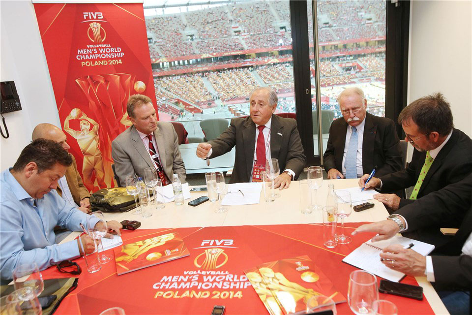 FIVB President, Dr Ary S Graça F°, hosts a media roundtable in the Polish National Stadium in Warsaw just before the FIVB Volleyball Men's World Championship Opening Ceremony on 30 August 2014