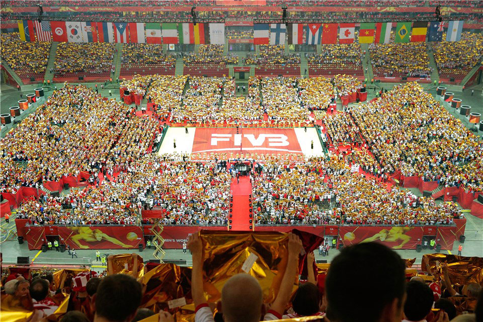 The FIVB Volleyball Men's World Championship Opening Ceremony, attended by a record 70,000 fans in Warsaw, Poland